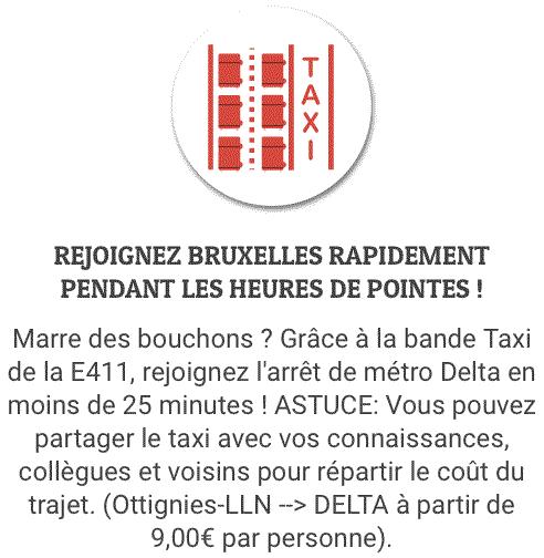 Rejoignez Bruxelles rapidement depuis ottignies grâce à la bande taxi de la E411